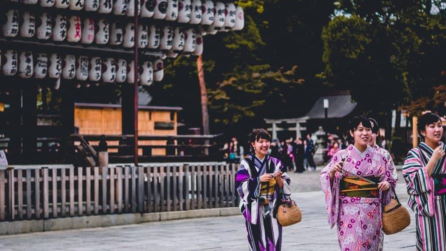girls in kimono at shrine in Japan