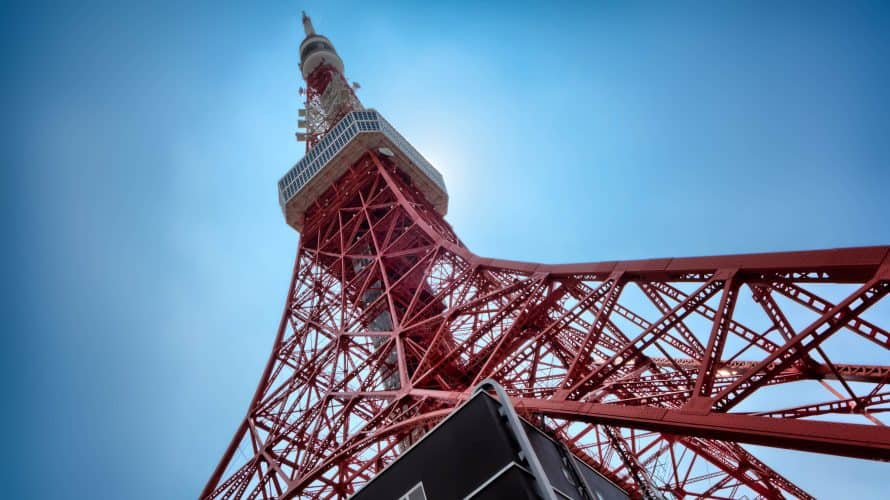 The 333 metre Tokyo Tower was built in 1958 and the design is based on the Eiffel Tower.