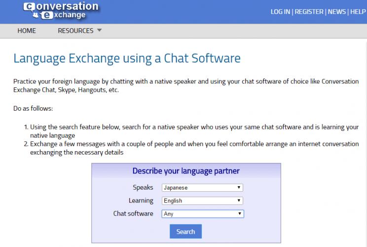 Conversation Exchange screenshot - a website to find a japanese language exchange partner online