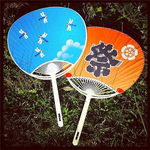 uchiwa - round, flat fans used in Japan in the summer. For more essential Japanese summer words, head to Team Japanese!