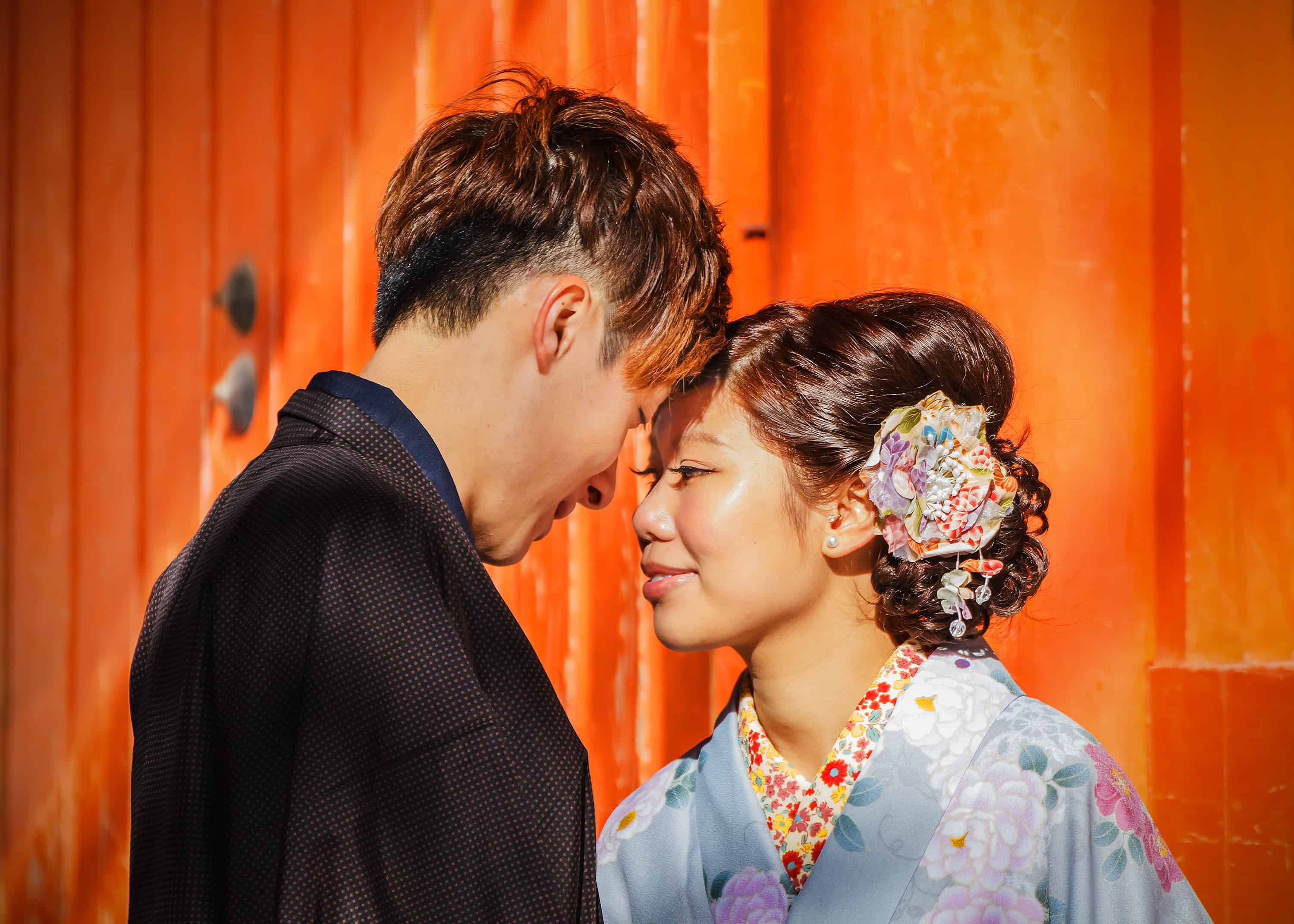 How to say I love you in Japanese. Unidentified groom and bride dress traditional costume for their wedding ceremony