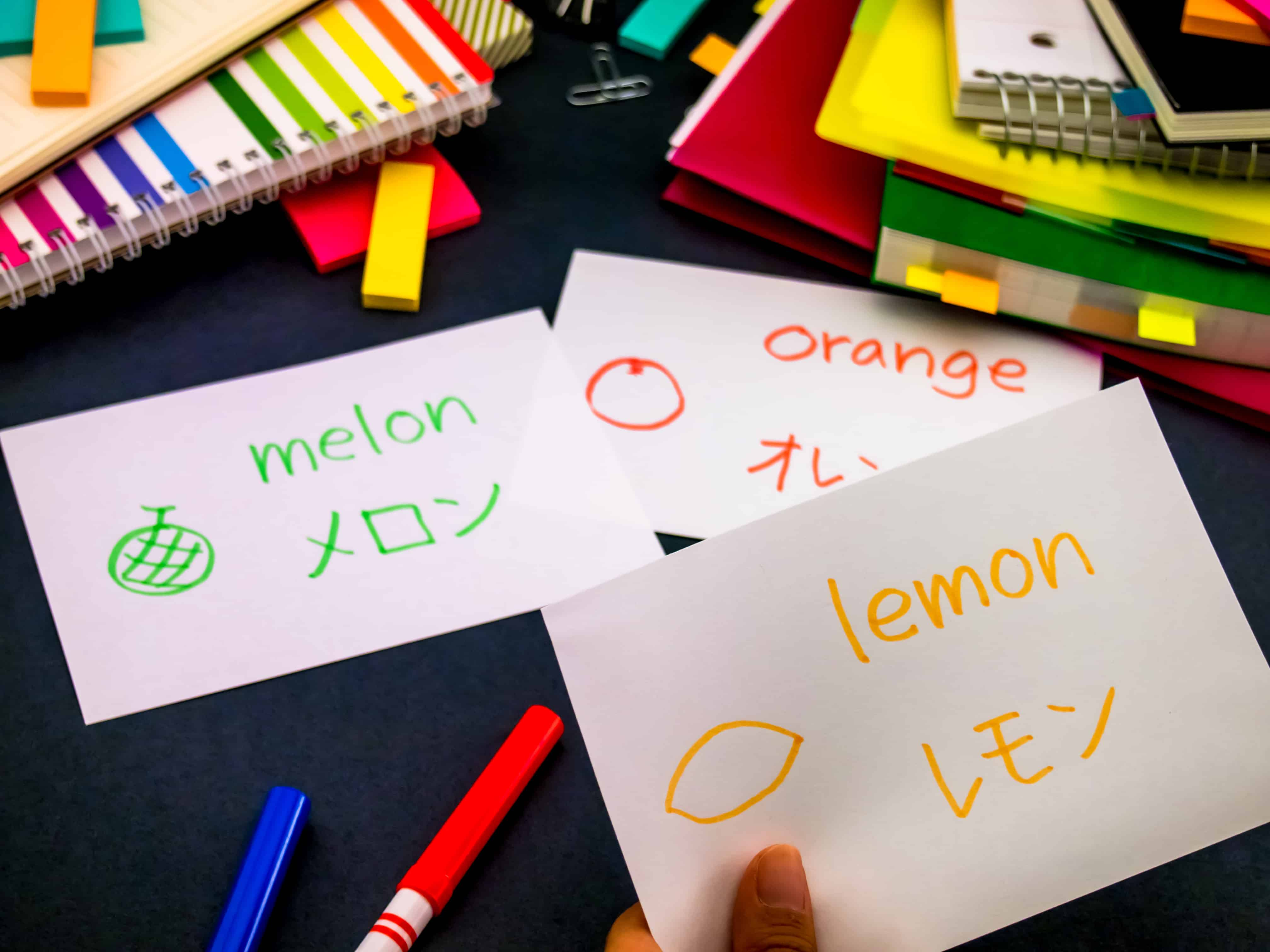 Japanese flashcards with the words 'lemon' and 'melon' - you can learn Japanese faster by recognizing that many words are the same in Japanese and English!