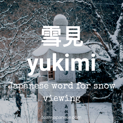 yukimi - snow viewing in Japanese - Japanese winter words