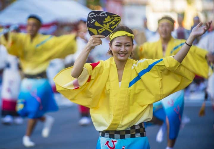 a bon odori dancer at a japanese summer festival