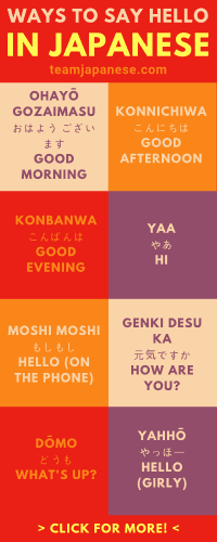 There are actually a lot of ways to say hello in Japanese! Casual, formal, informal, masculine, feminine etc. Learn how to greet people in Japanese correctly with this infographic. Please pin to your learning Japanese board, then click through to Team Japanese for even more free Japanese words!